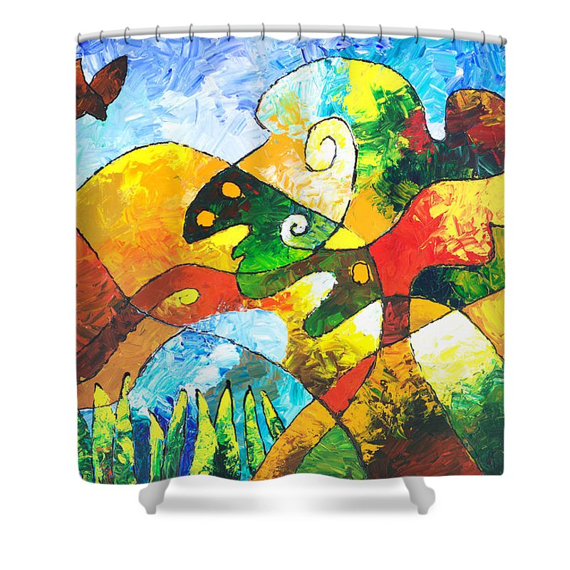 Tree Shower Curtain featuring the painting View From Valley Road by Sally Trace