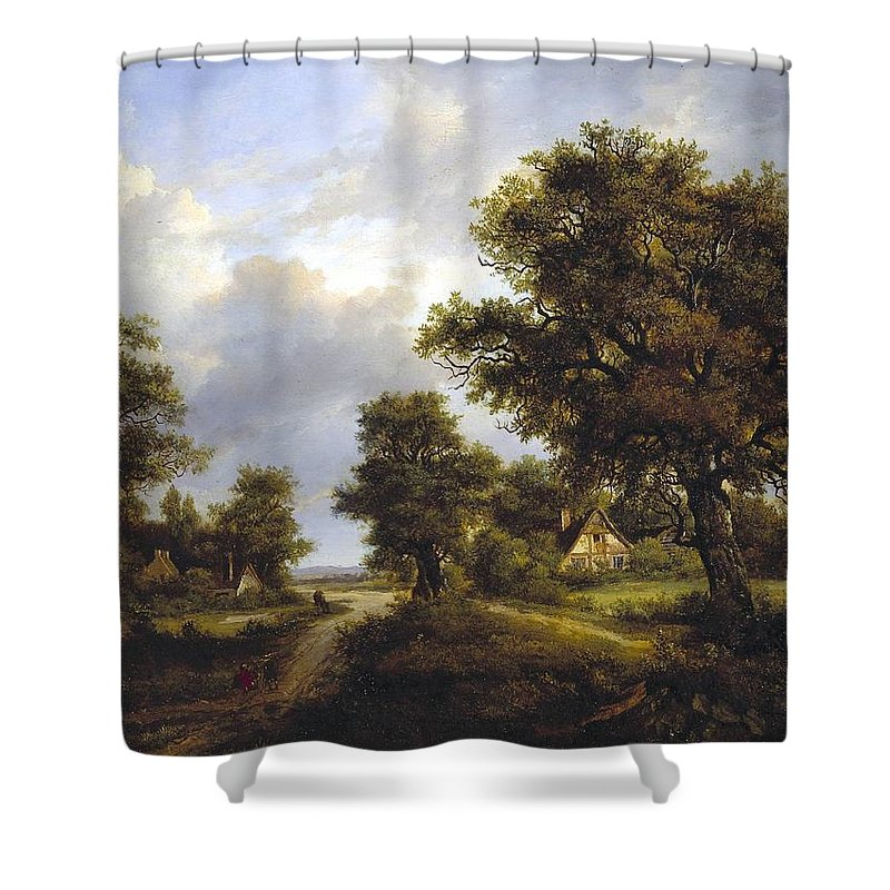 Patrick Nasmyth - View In Sussex Shower Curtain featuring the painting View In Sussex by MotionAge Designs