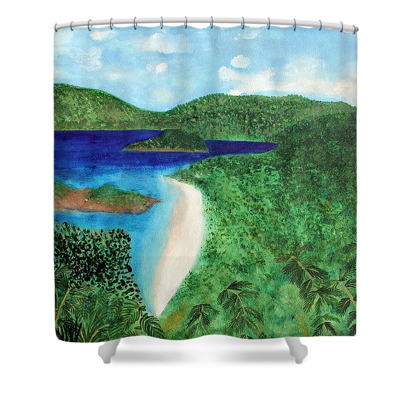 Atlantic Shower Curtain featuring the painting View Of Beach In St John Us Virgin Islands by Lee Serenethos