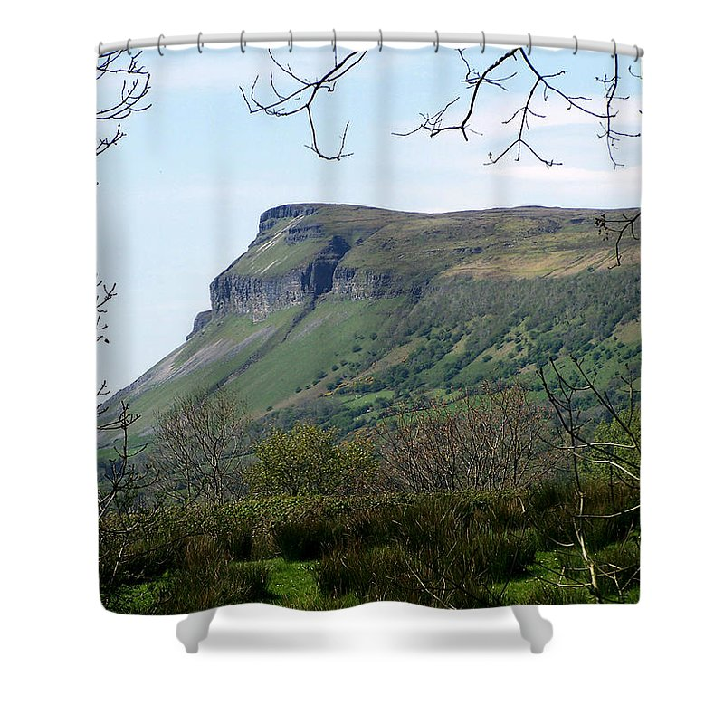 Irish Shower Curtain featuring the photograph View Of Benbulben From Glencar Lake Ireland by Teresa Mucha