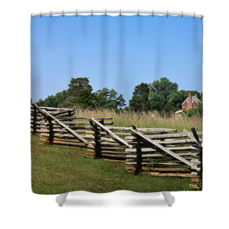Appomattox Shower Curtain featuring the photograph View Of Clover Hill Tavern Appomattox Court House Virginia by Teresa Mucha
