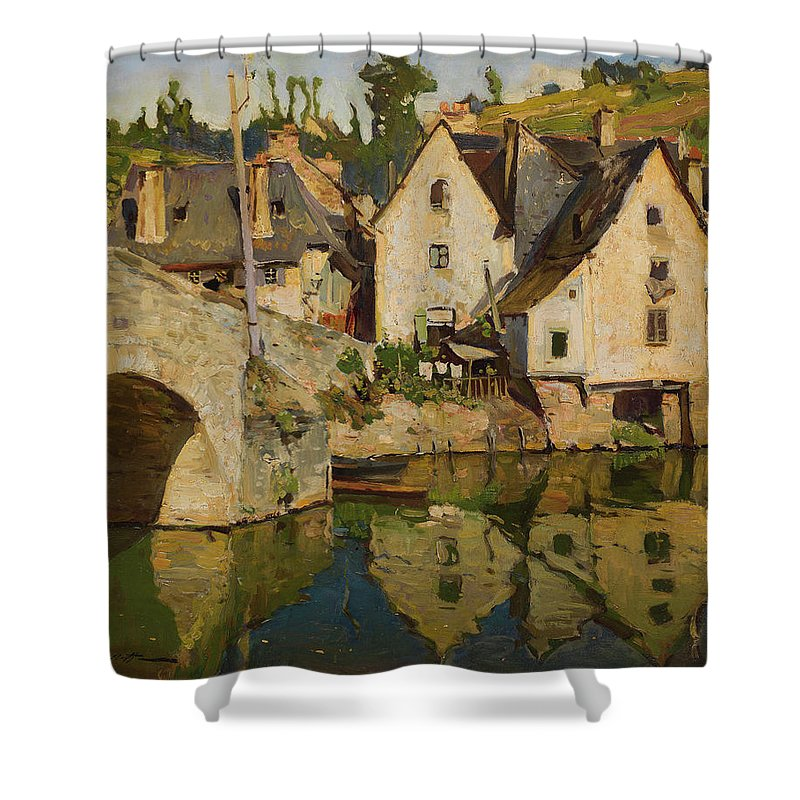 Westchilov Shower Curtain featuring the painting View Of Dinan by MotionAge Designs