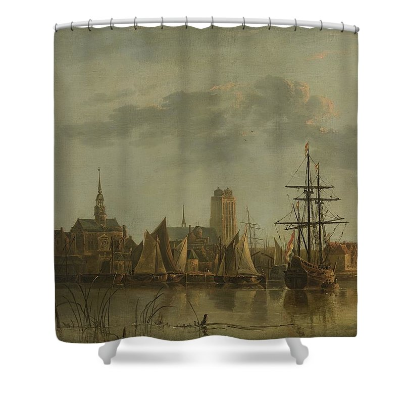 View Of Dordrecht At Sunset Shower Curtain featuring the painting View Of Dordrecht At Sunset by Celestial Images