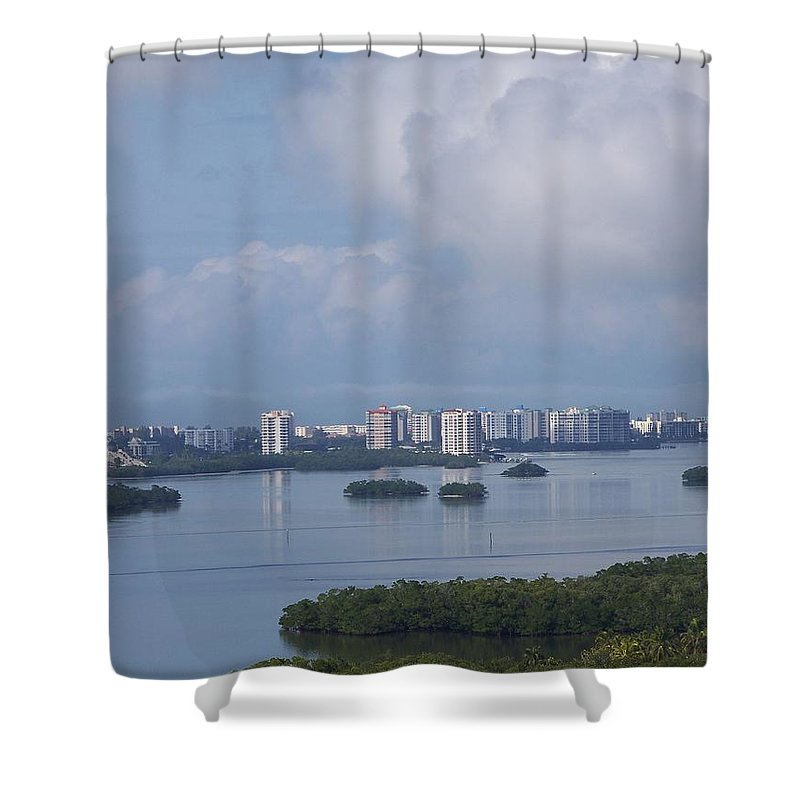 Fort Myers Beach Shower Curtain featuring the photograph View Of Fort Myers Beach by Laurie Paci