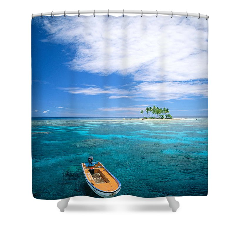 Blue Shower Curtain featuring the photograph View Of Micronesia by Rick Gaffney - Printscapes