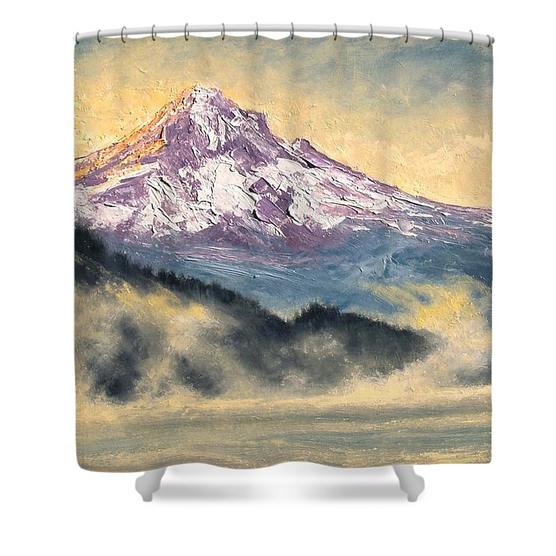 Lanscape Shower Curtain featuring the painting View Of Mt Hood by Jim Gola