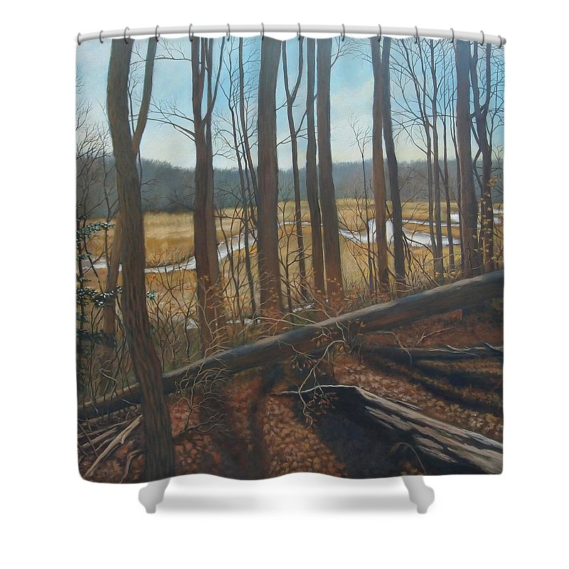 Acrylic Landscape Shower Curtain featuring the painting View Of Parkers Creek by Suzanne Shelden