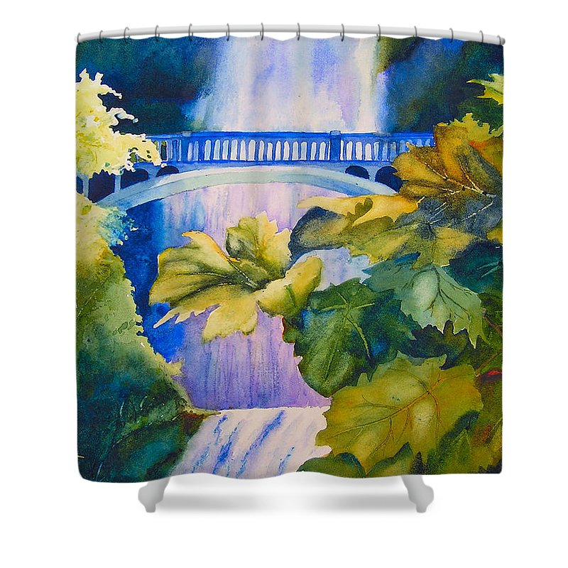 Waterfall Shower Curtain featuring the painting View Of The Bridge by Karen Stark