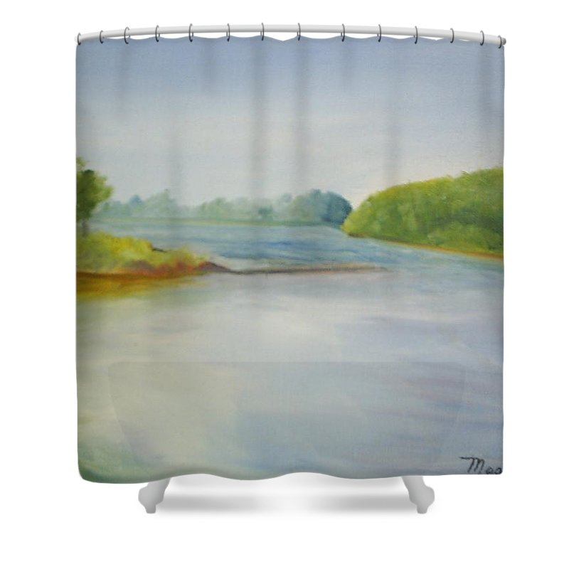 Delaware River Shower Curtain featuring the painting View Of The Delaware by Sheila Mashaw