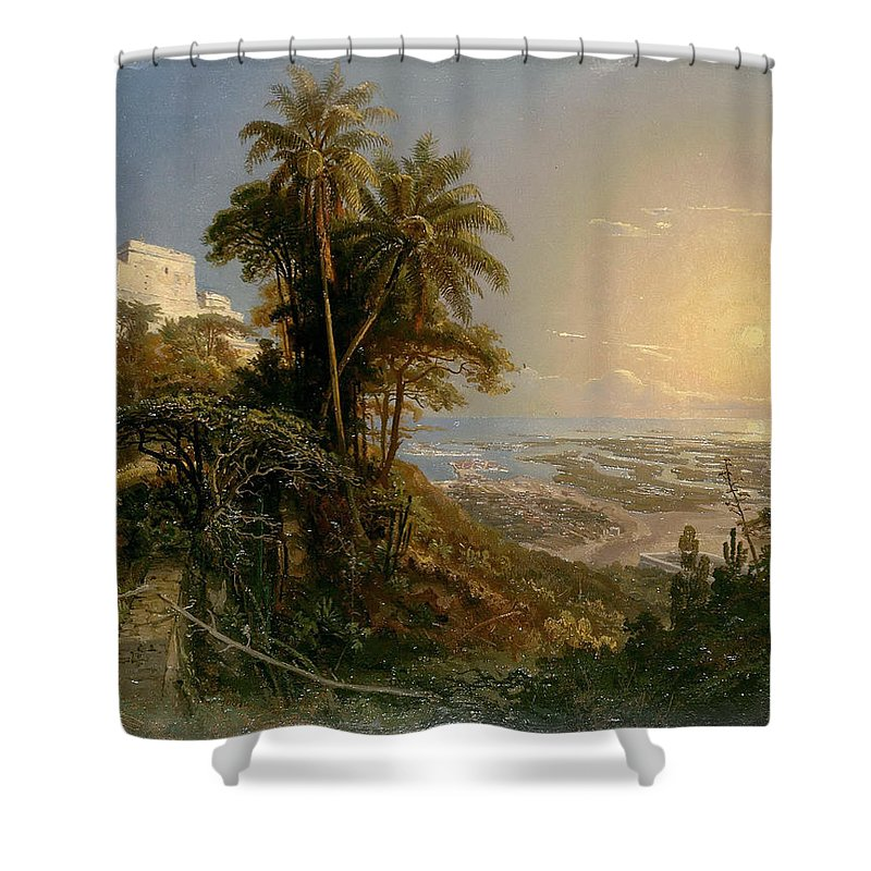 Ferdinand Konrad Bellermann Shower Curtain featuring the painting View Of The Harbor Of Puerto Cabello, Study by Ferdinand Konrad Bellermann