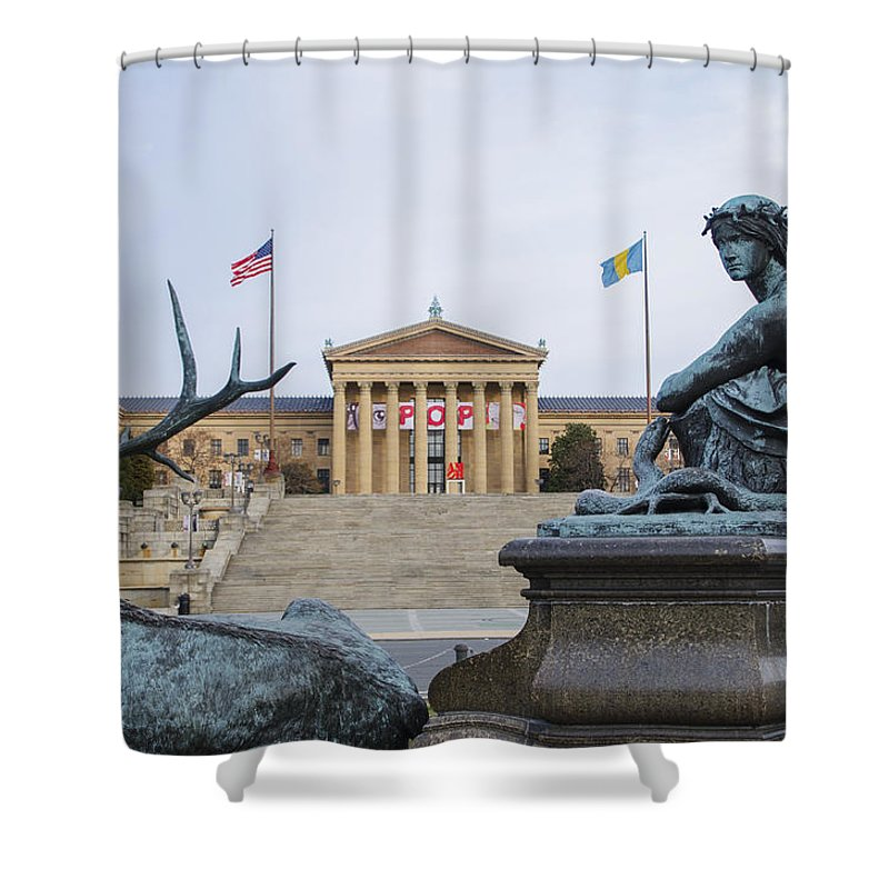 View Shower Curtain featuring the photograph View Of The Museum Of Art In Philadelphia From The Parkway by Bill Cannon