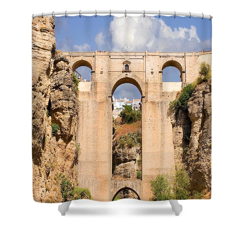 Ronda Shower Curtain featuring the photograph View Of The Tajo De Ronda And The Puente Nuevo Bridge From Across The Valley by Mal Bray