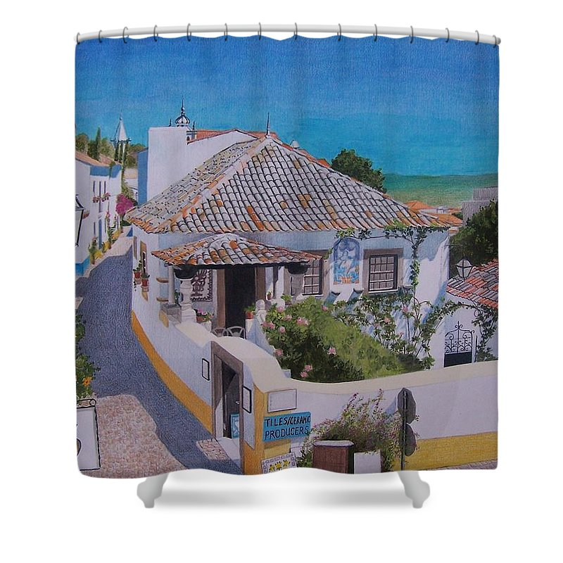 Green Shower Curtain featuring the mixed media View On Obidos by Constance Drescher
