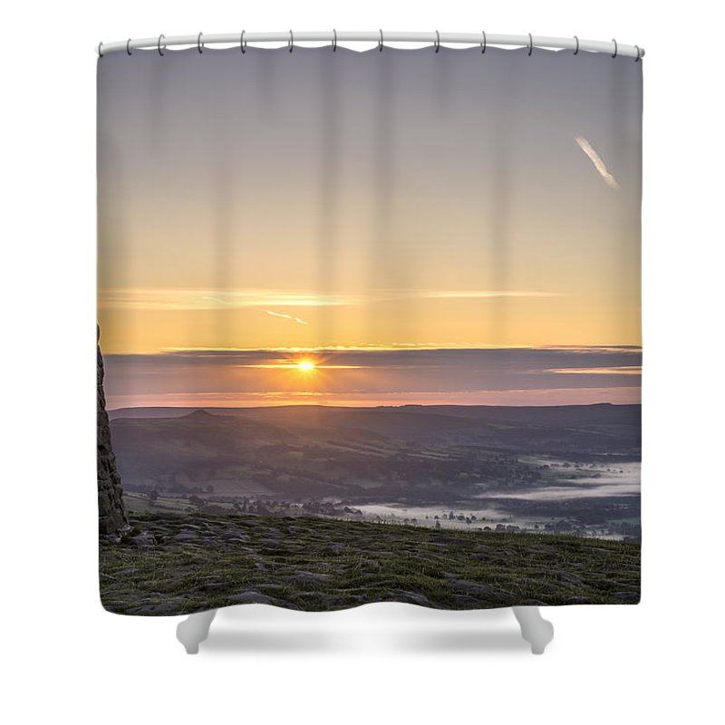 Dawn Shower Curtain featuring the photograph View Over The Hope Valley From Mam Tor At Dawn by Neil Alexander