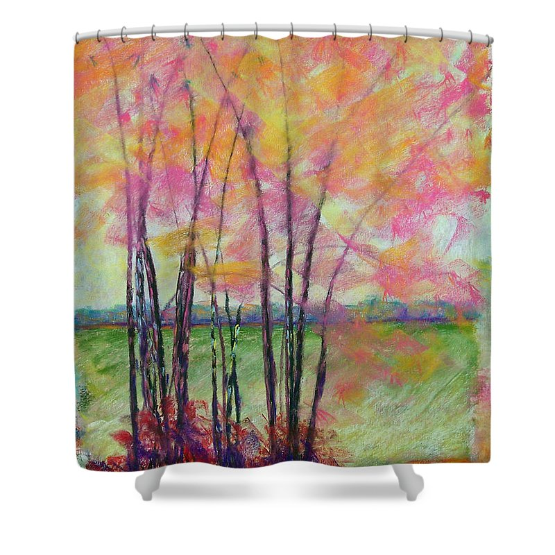 Edison Shower Curtain featuring the painting View Through Bamboo by Laurie Paci
