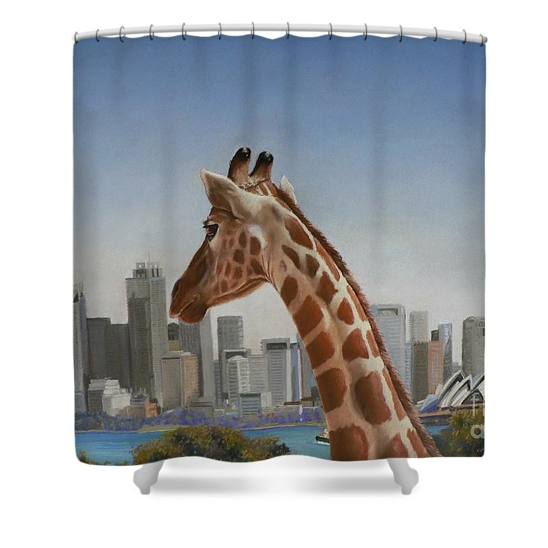 Giraffe Shower Curtain featuring the pastel View Towards Sydney by Louise Green