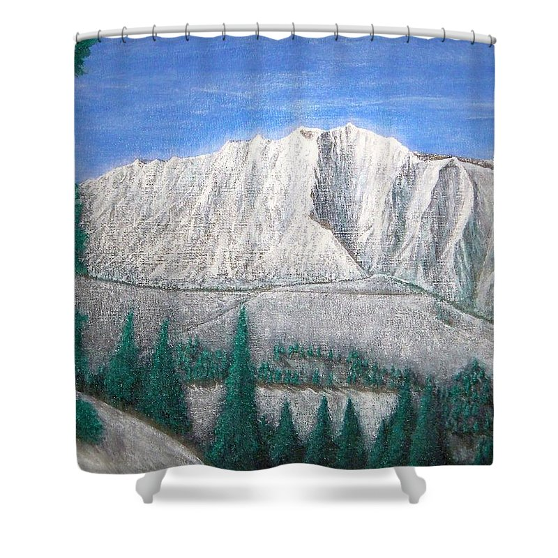 Snow Shower Curtain featuring the painting Viewfrom Spruces by Michael Cuozzo