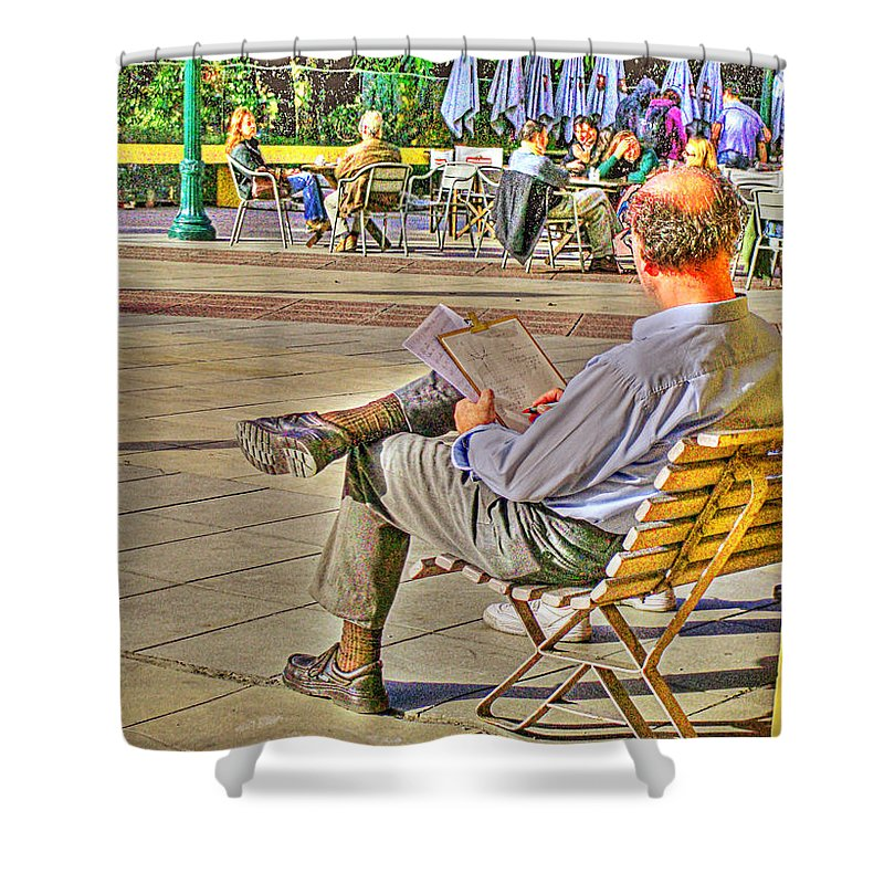 Park Shower Curtain featuring the photograph Viewing Man by Francisco Colon
