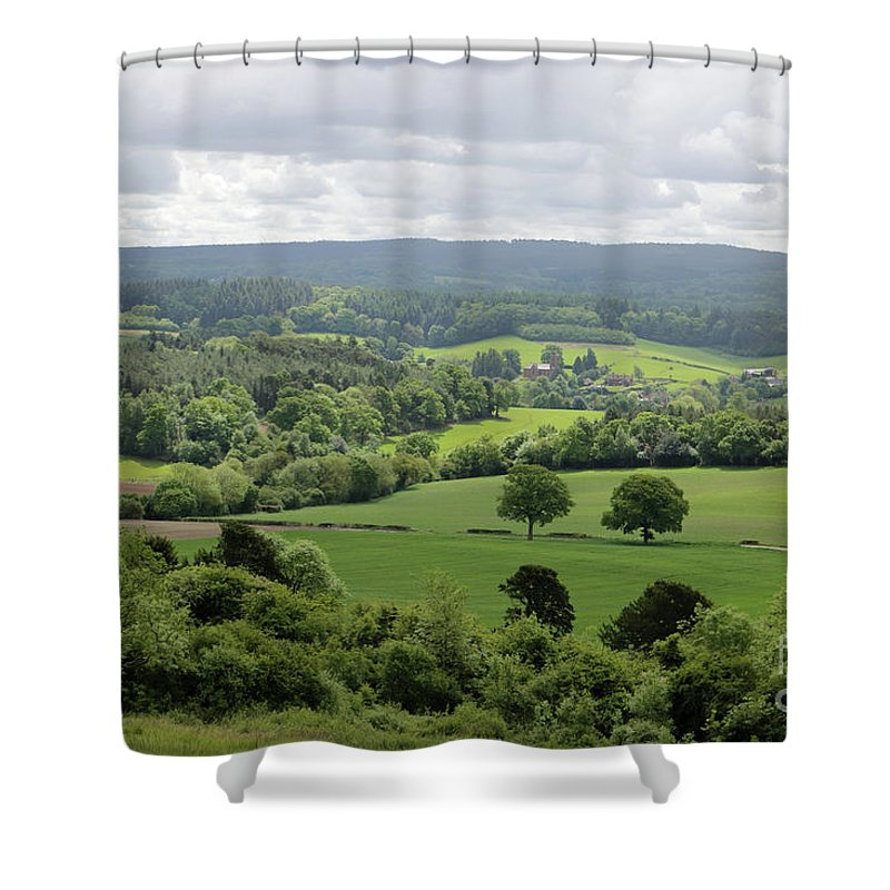 Views Across The Surrey Hills From Newlands Corner Countryside Landscape Shower Curtain featuring the photograph View Of The Surrey Hills From Newlands Corner by Julia Gavin