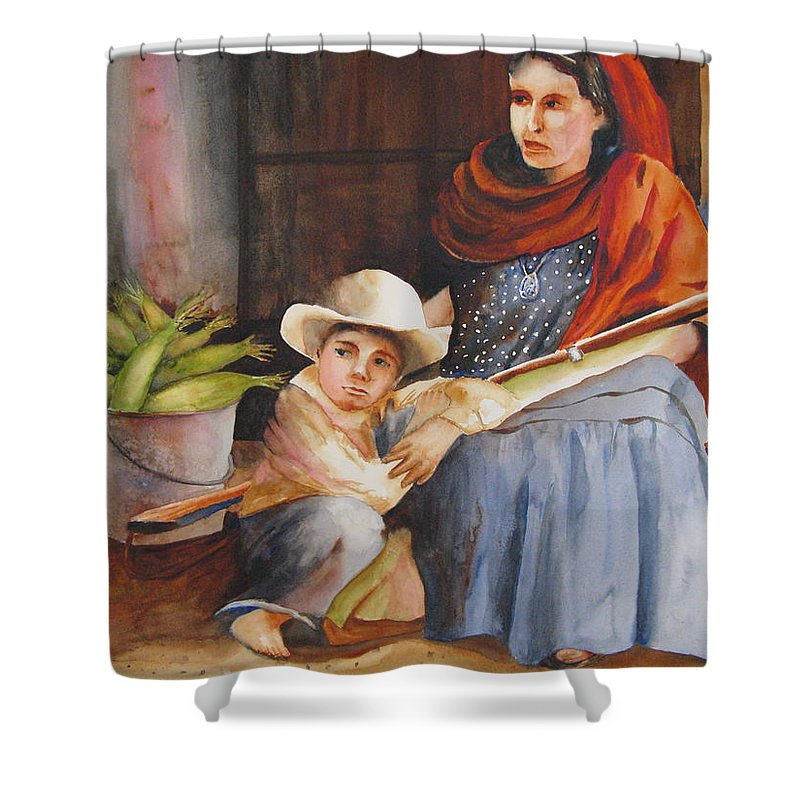 Mother Shower Curtain featuring the painting Vigil by Karen Stark