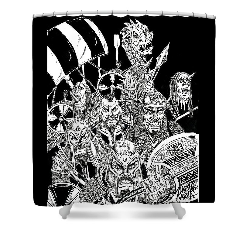 Viking Metal Shower Curtain For Sale By Alaric Barca