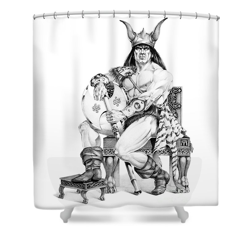 Viking Shower Curtain featuring the painting Viking Warrior by Melissa A Benson