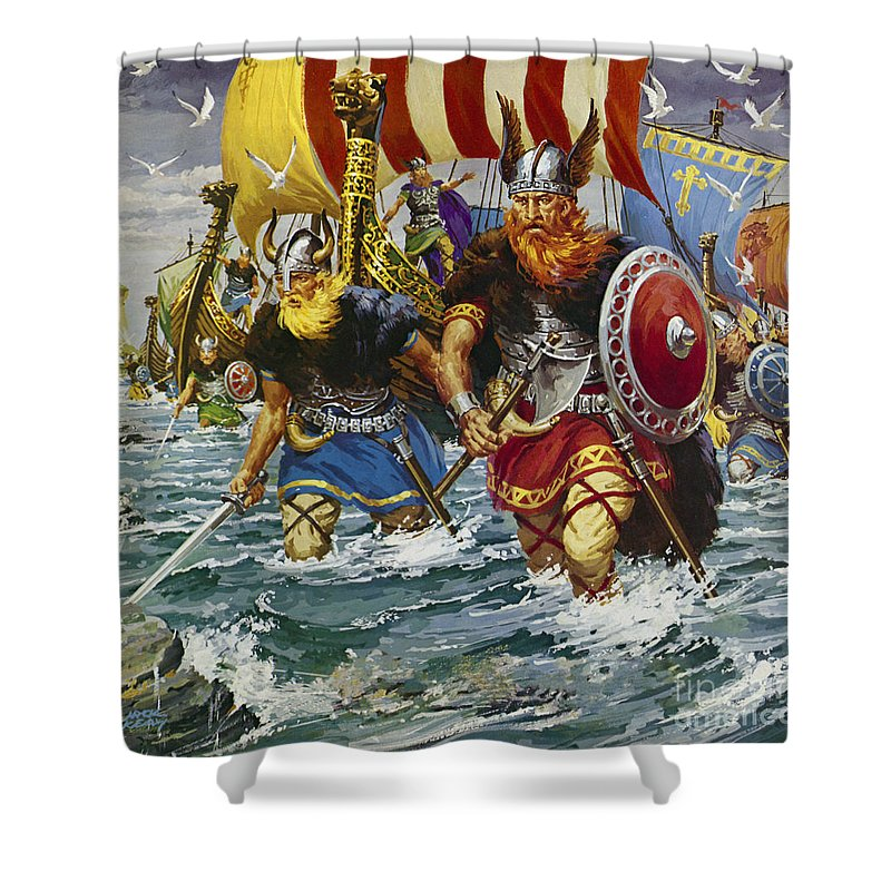 Viking Shower Curtain Featuring The Painting Vikings By Jack Keay
