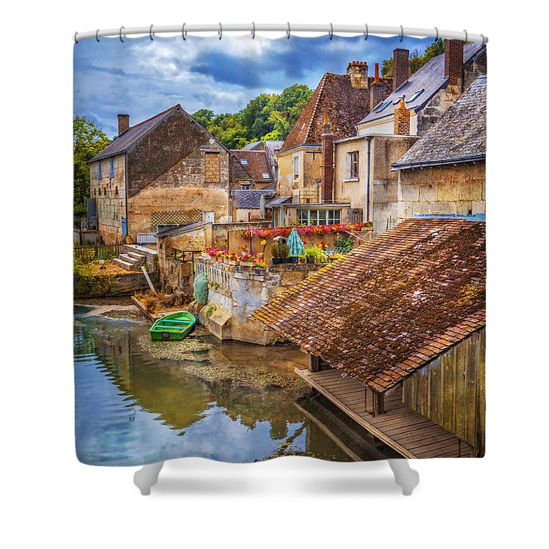 Austria Shower Curtain featuring the photograph Village At The River by Debra and Dave Vanderlaan