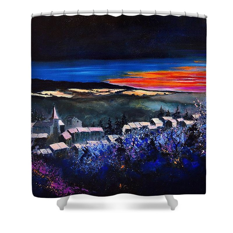 Landscape Shower Curtain featuring the painting Village In A Winter Morninglight by Pol Ledent