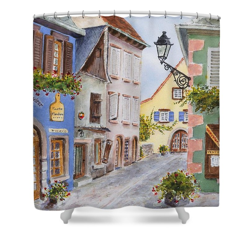 Village Shower Curtain featuring the painting Village In Alsace by Mary Ellen Mueller Legault