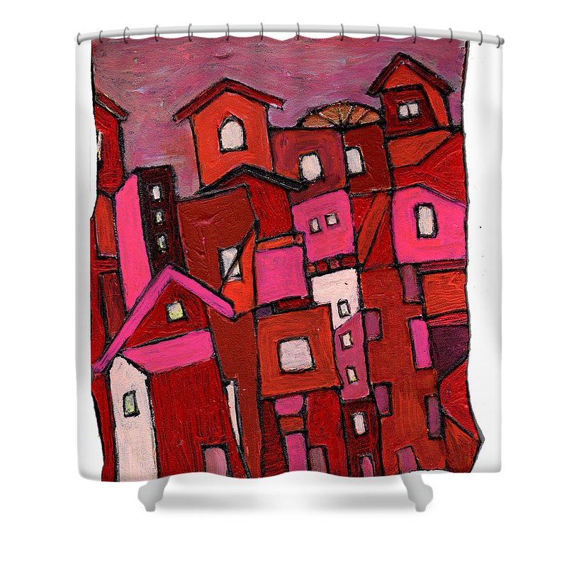 Village Shower Curtain featuring the painting Village In Pink by Wayne Potrafka