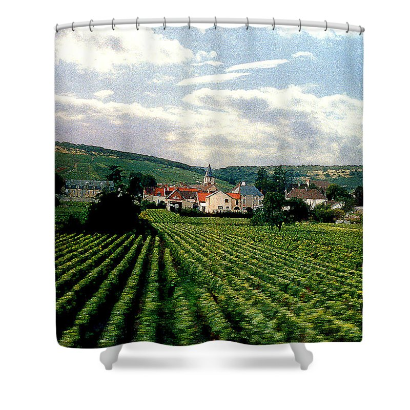Vineyards Shower Curtain featuring the photograph Village In The Vineyards Of France by Nancy Mueller