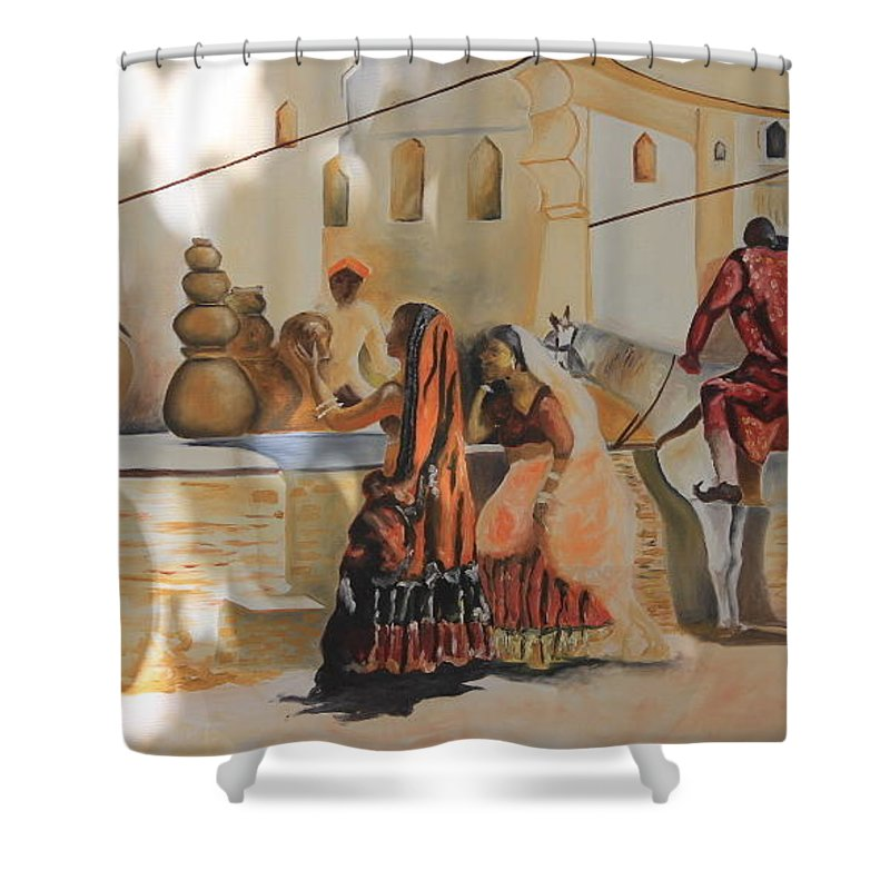 The India Village Market. Shower Curtain featuring the painting Village by Jobanjeet Singh