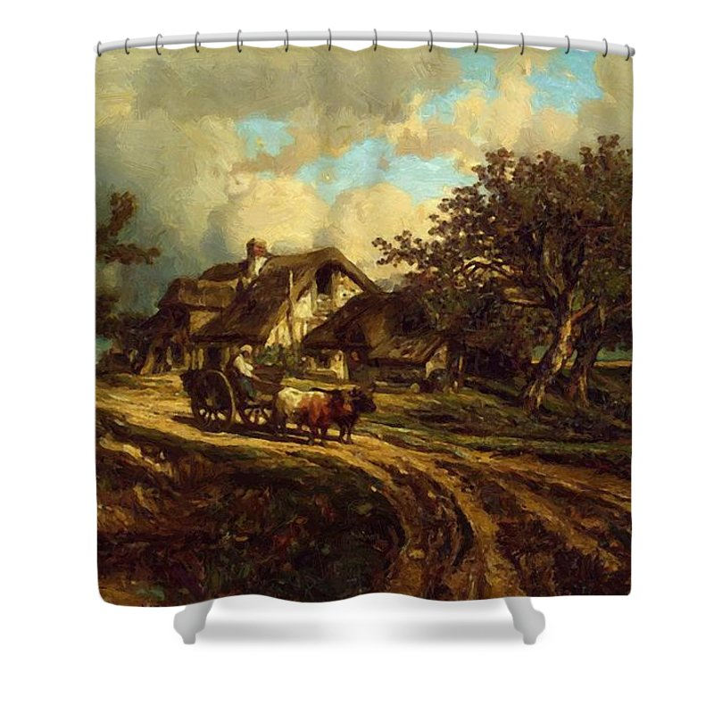 Village Shower Curtain featuring the painting Village Landscape 1844 by Dupre Jules