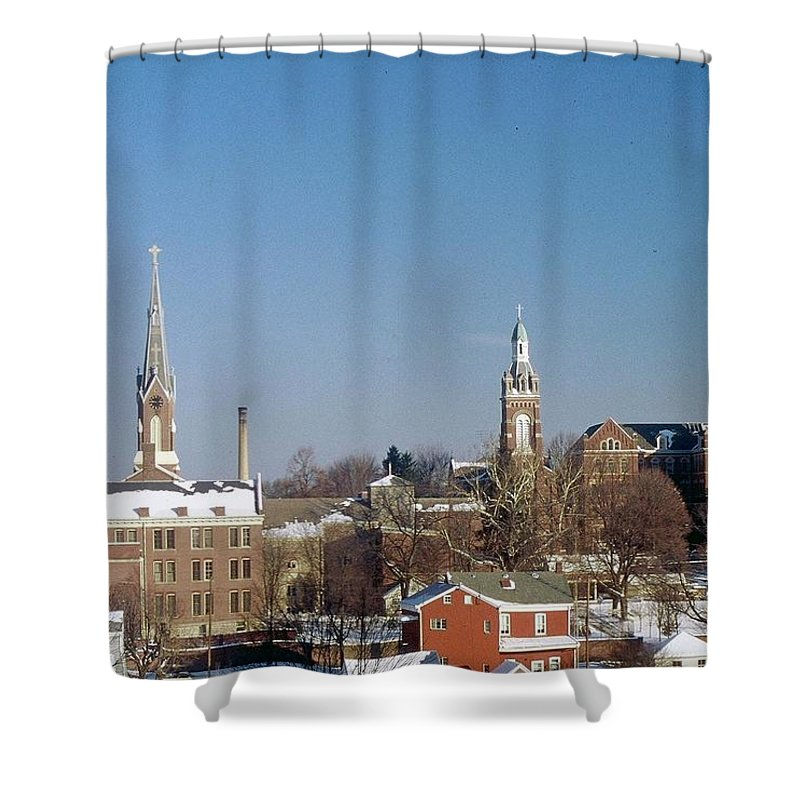 Oldenburg Indiana Shower Curtain featuring the photograph Village Of Spires by Gary Wonning