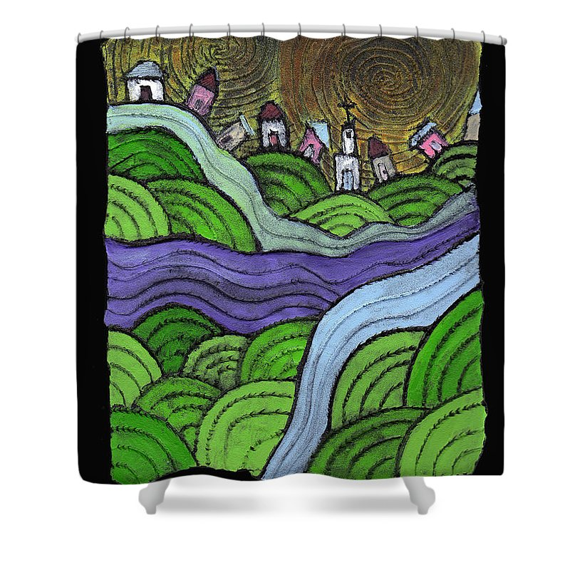 Village Shower Curtain featuring the painting Village On The Hill by Wayne Potrafka