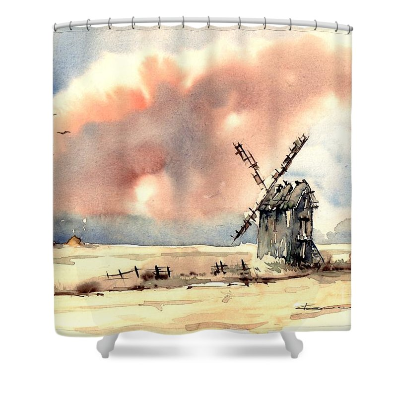 Village Shower Curtain featuring the painting Village Scene Vi by Suzann Sines