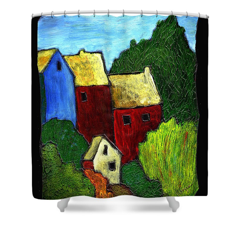 Village Shower Curtain featuring the painting Village Scene by Wayne Potrafka