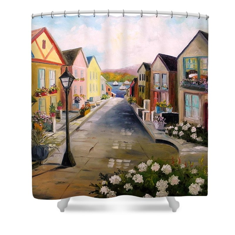 Village Shower Curtain featuring the painting Village Street by John Williams