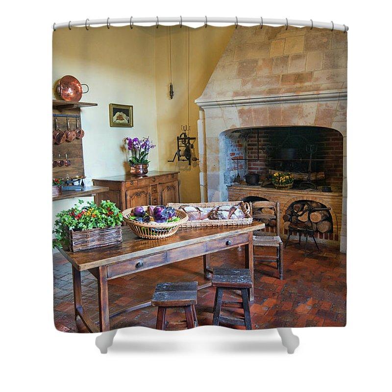 Villandry Shower Curtain featuring the photograph Villandry, Loire, France, Kitchen by Curt Rush