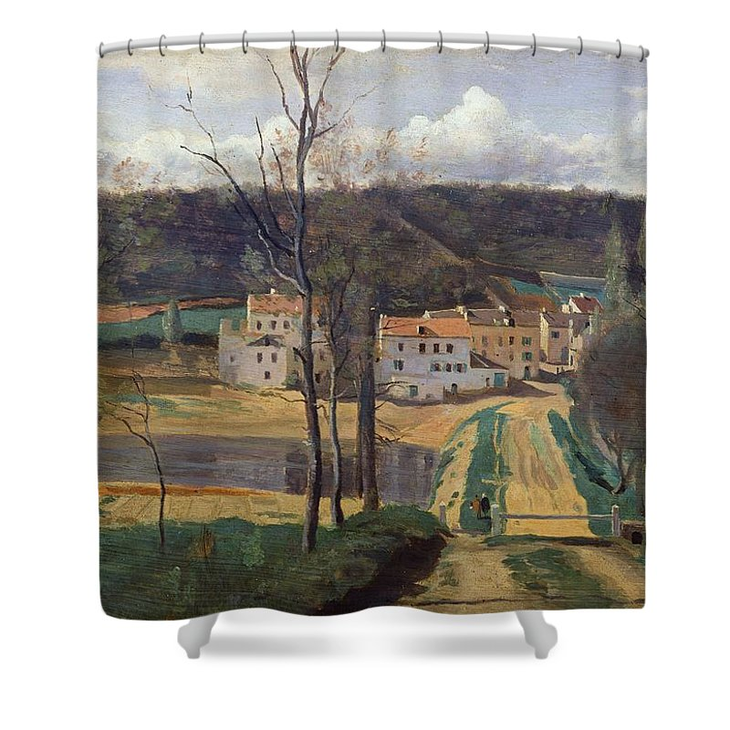 French Shower Curtain featuring the painting Ville Davray by Jean Baptiste Camille Corot