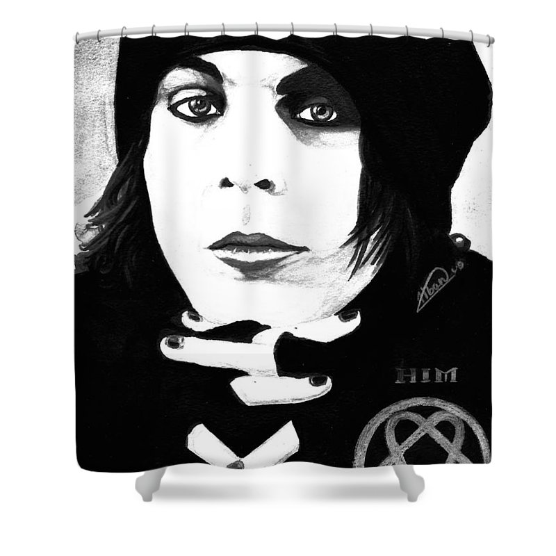 Ville Valo Shower Curtain featuring the painting Ville Valo Portrait by Alban Dizdari