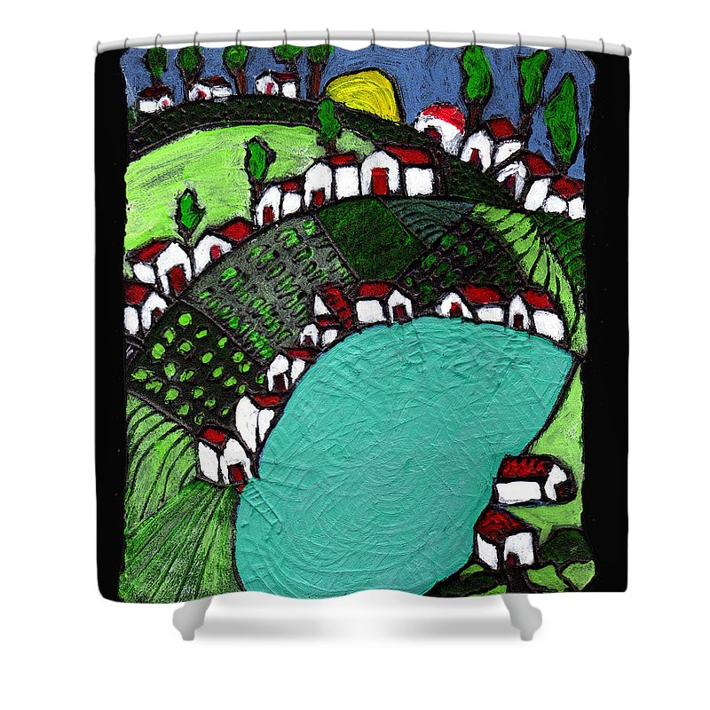 Village Shower Curtain featuring the painting Villlage By The Pond by Wayne Potrafka