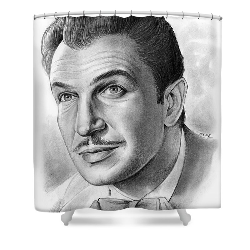 Celebrity Shower Curtain Featuring The Drawing Vincent Price By Greg Joens