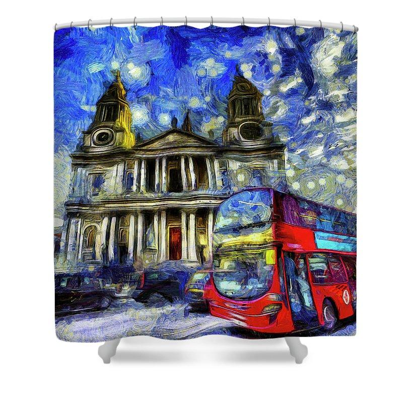 Van Gogh Shower Curtain featuring the mixed media Vincent Van Gogh London by David Pyatt