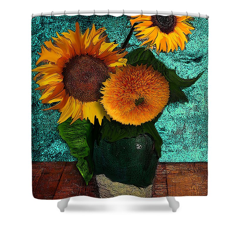 Vincent Shower Curtain featuring the drawing Vincent's Sunflowers 2 by Jose A Gonzalez Jr