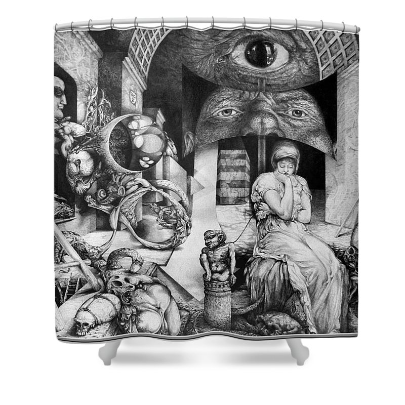 Surrealism Shower Curtain featuring the drawing Vindobona Altarpiece IIi - Snakes And Ladders by Otto Rapp