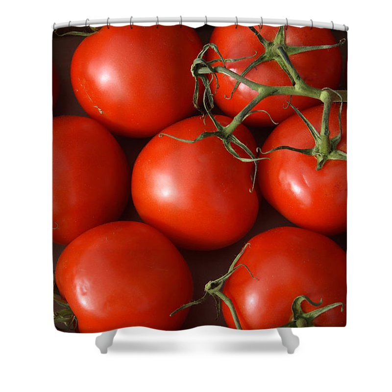 Tomatoes Shower Curtain featuring the photograph Vine Ripe Tomatoes Fine Art Food Photography by James BO Insogna