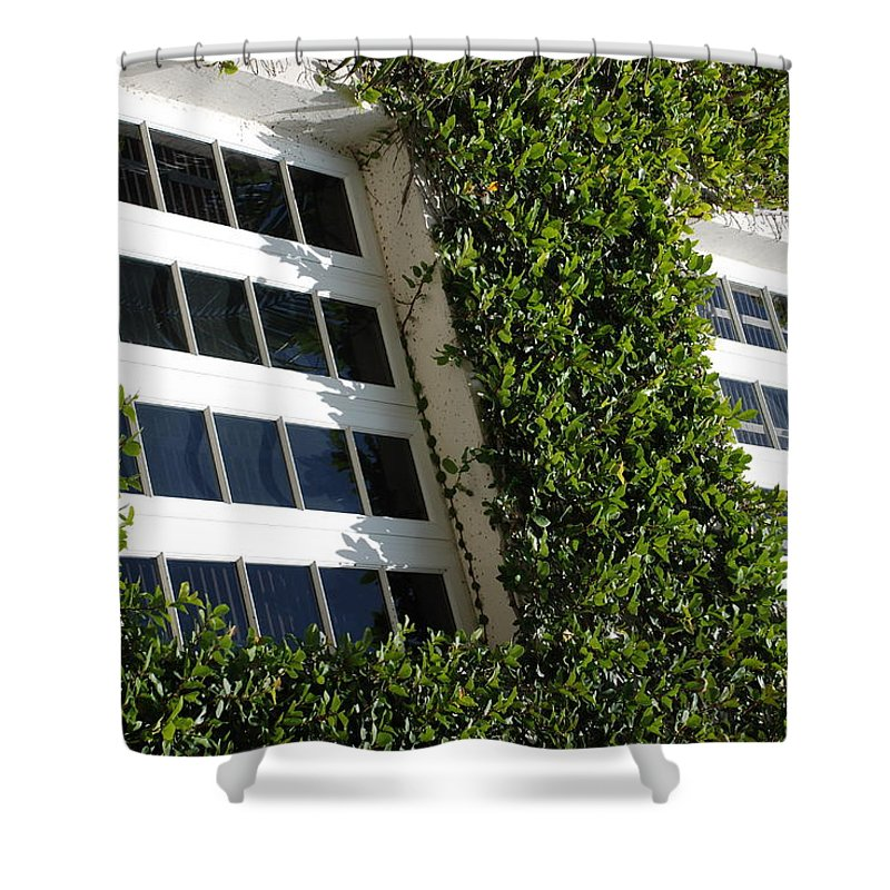 Architecture Shower Curtain featuring the photograph Vines And Glass by Rob Hans