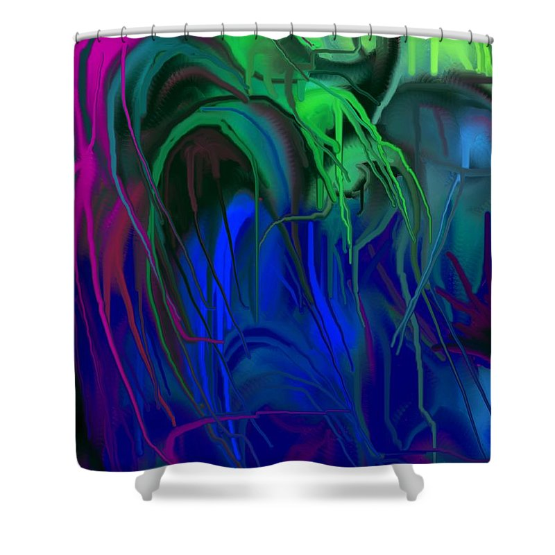 Abstract Shower Curtain featuring the digital art Vines by Ian MacDonald